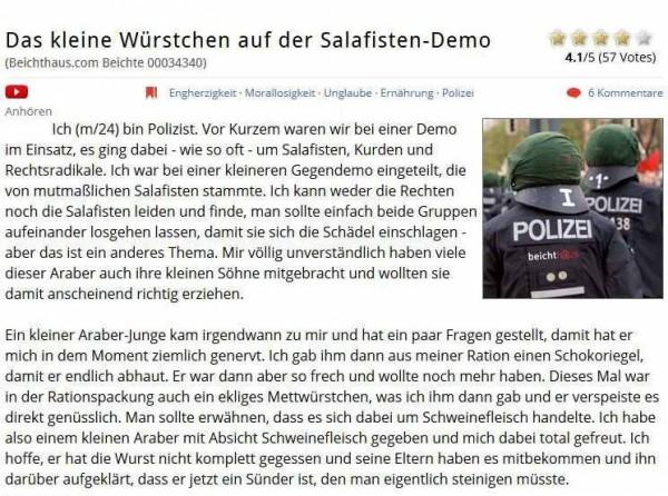 Mit Würstchen auf der Salafisten-Demo
