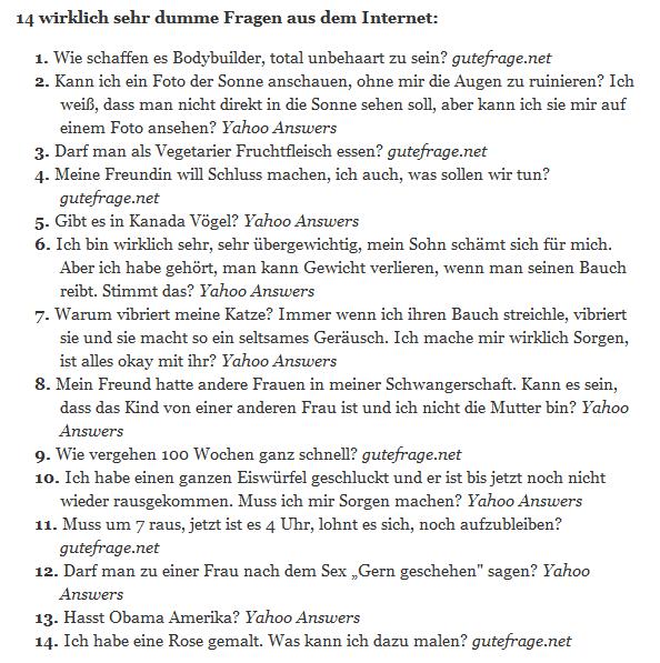 14 dumme Fragen
