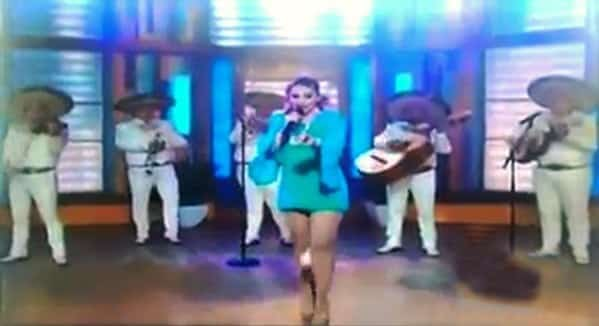 "Pic shows: Tv show where pad came off. A popular female singer was left red faced after a hygiene pad fell from between her legs during a live performance on national television. It is believed the embarrassing mishap is the first to have happened to any performing artist in the world. Brave Patricia Navidad,42, who was wearing a short blue mini dress grimaced momentarily after the accident but carried on with her performance which was watched by  thousands of stunned viewers. The singer was  performing live on  morning TV show called Despierta America (""Wake Up America"") when the incident happened. As  she was sang ""Viva Mexico"", a hygiene pad fell from between her legs which was clearly visible on camera. She  courageously stepped away from the pantie pad and carried on,  finishing the song without faltering. However, her impromptu show has seen her become the butt of many jokes on Twitter in South America. Defending herself  she said in a Tweet : ""I want to make it clear that I never threw or will throw the pad. It fell by itself through a very sophisticated tunnel! Thank you, I love you.""  Then she added:""This is not something I should be ashamed of or be  mocked for. But while judging, bullying and pointing at me you forget you are not what you say you are."" Patricia  started acting in soap operas in the early 90s and is also a singer. When she was 17, she won the Miss Sinaloa beauty contest and the prize was a scholarship at the Arts and Television Centre in Mexico City. (ends)"
