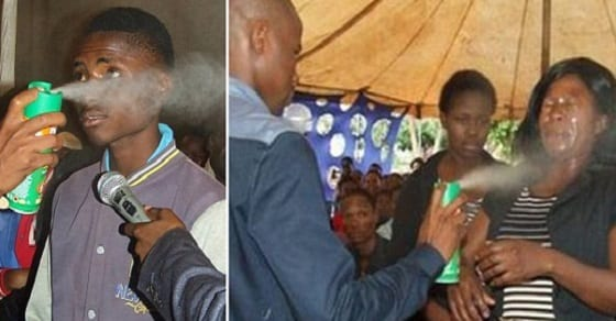 A South African pastor who sprays his congregation with insecticide has been widely condemned. Tallman Sipho Mshwane/Facebook